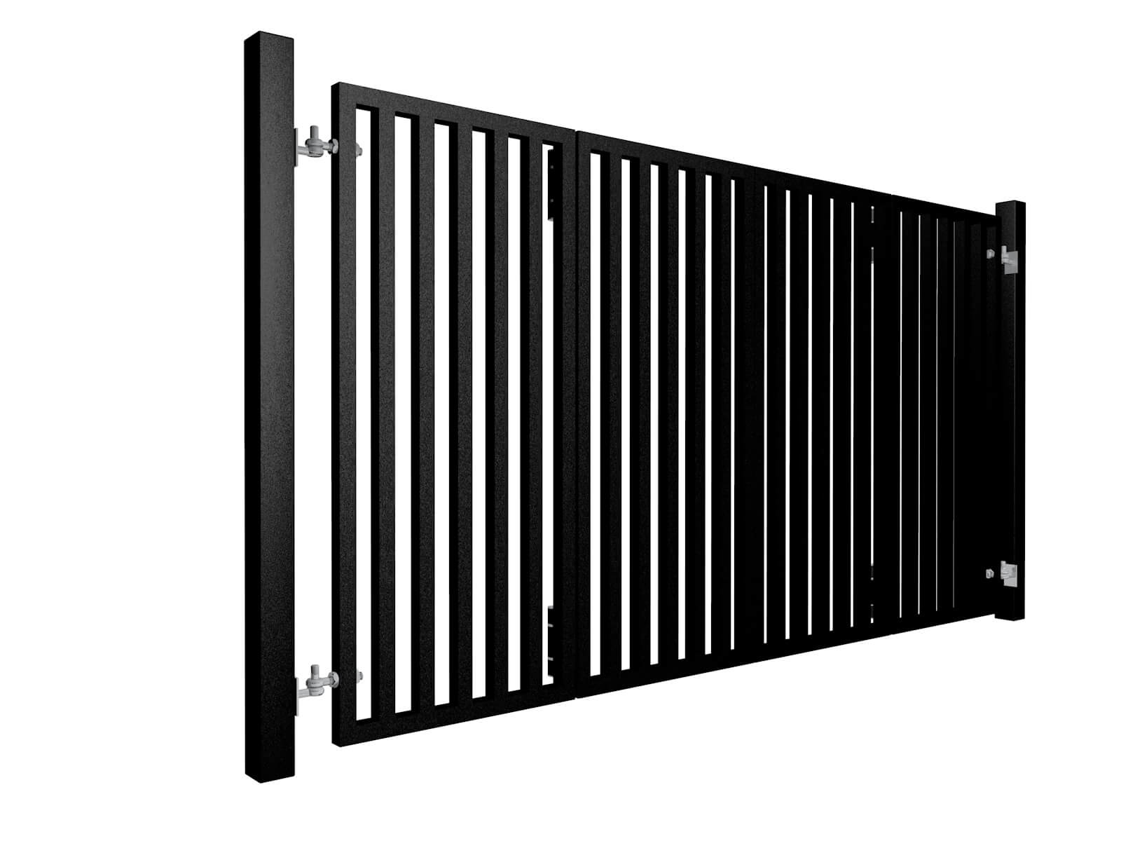 black powder coated bi-fold vertical metal box section automated gates company