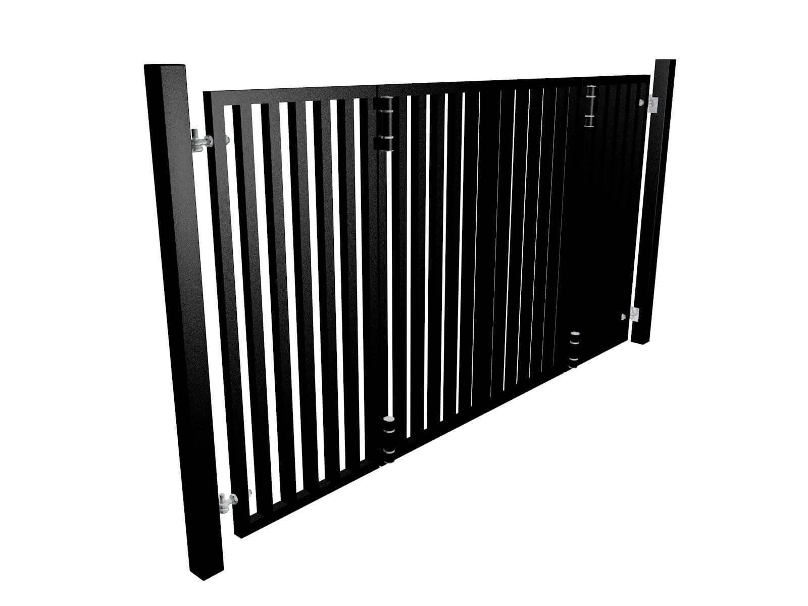 black powder coated bi-fold vertical metal box section automated gates in Bristol UK