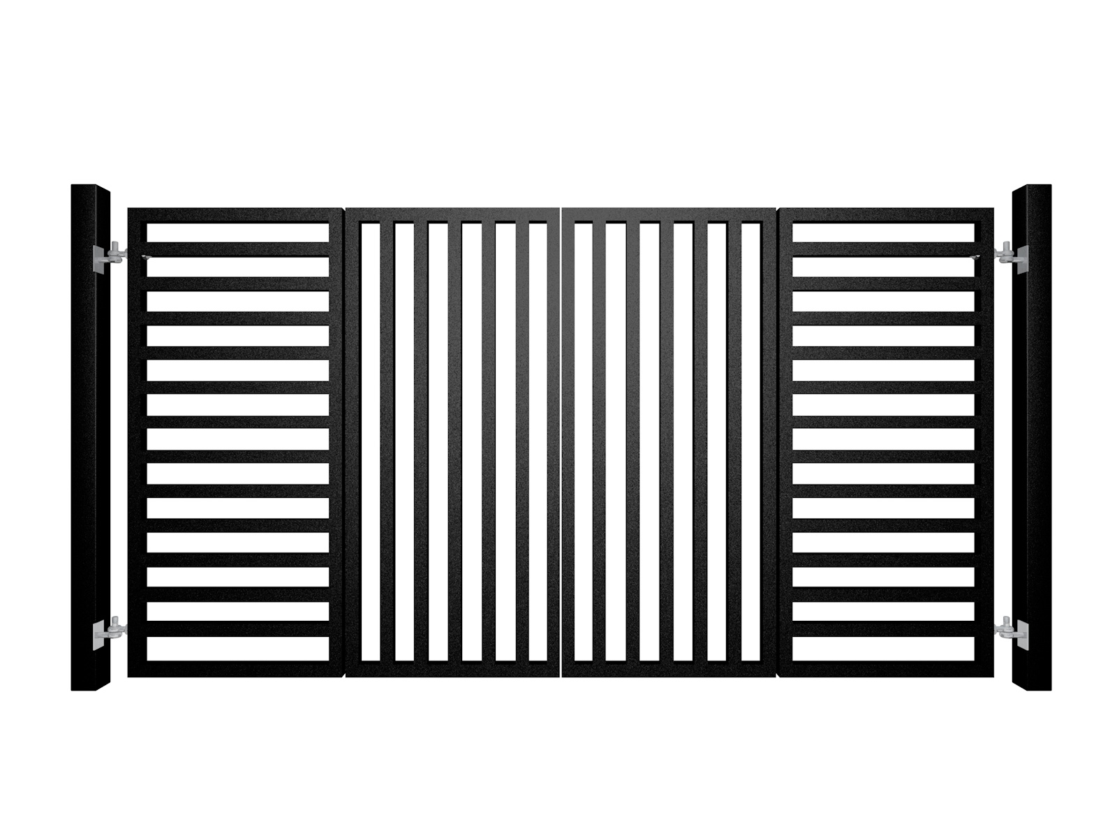 contemporary bi-fold automated metal gate with square section fill bars