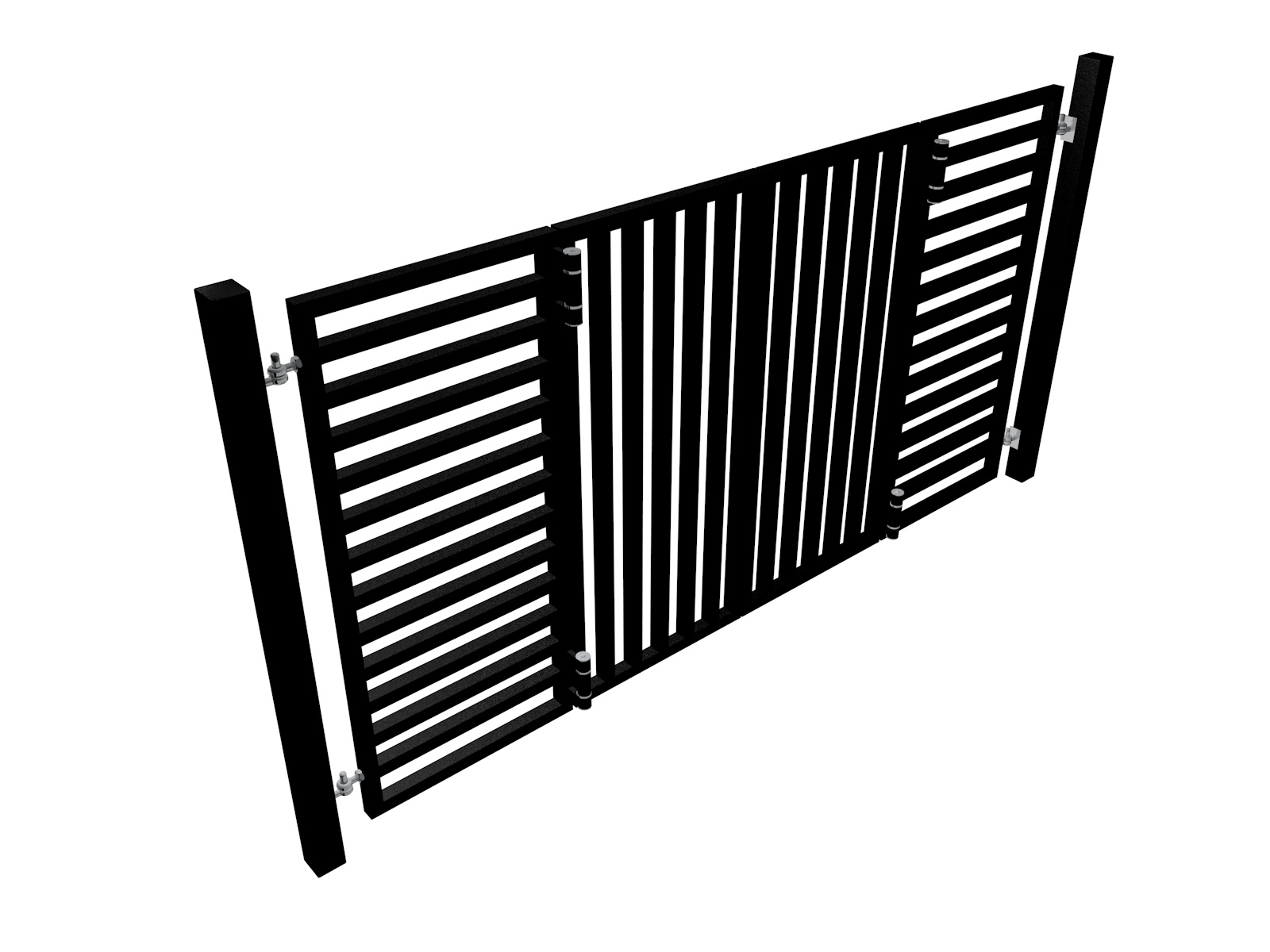contemporary bi-fold automated metal driveway gate with square section fill bars