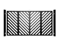 contemporary bi-fold automated metal gate with diagonal square section fill bars