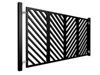 black powder coated bi-fold diagonal metal box section automated gates