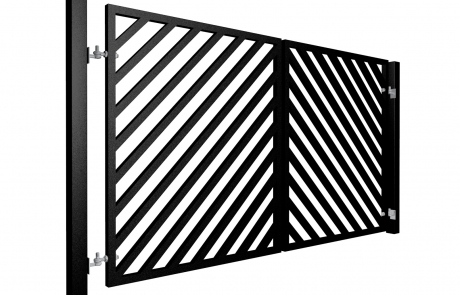 Contemporary, Diagonal Box Section Metal Swinging Gate Nailsea