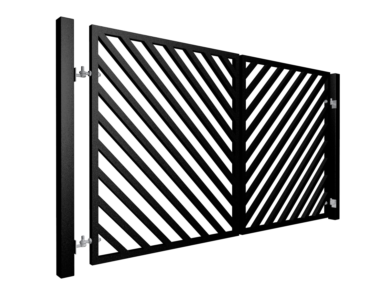 Contemporary, Diagonal Box Section Metal Swinging Gate