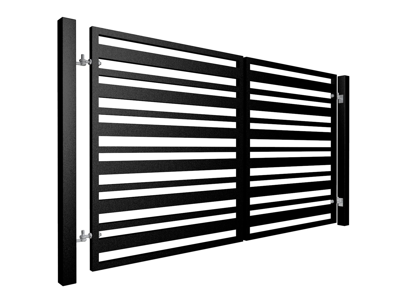 Contemporary, Alternating Width Vertical Box Section Metal Swinging Gate
