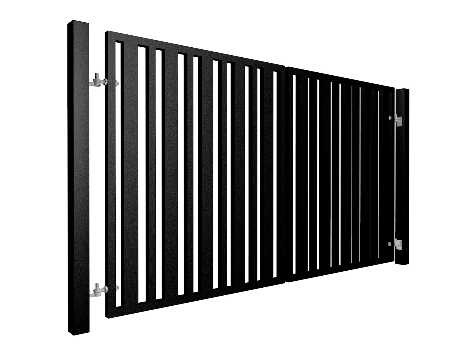 Contemporary, Alternating Width Vertical Box Section Metal Swinging Gate bristol