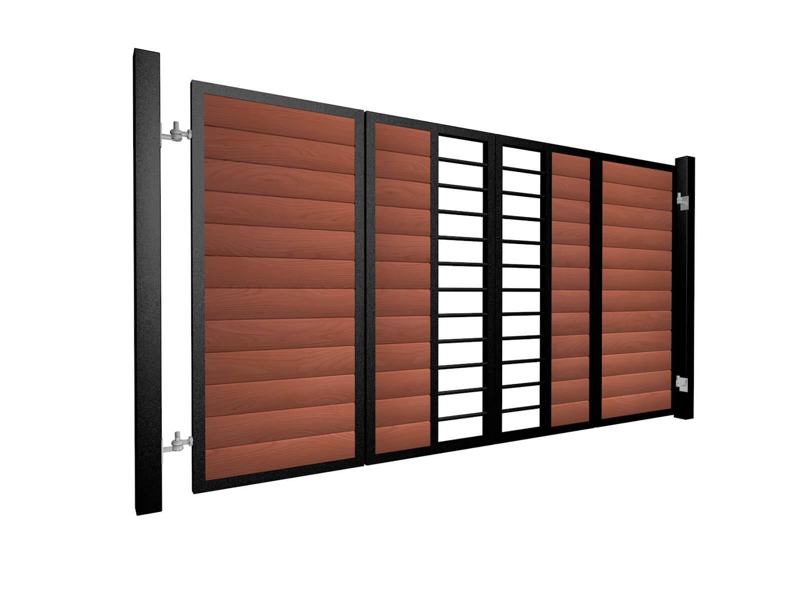 powder coated bi-fold vertical metal frame wood fill automated gates
