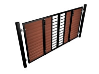 powder coated bi-fold vertical metal frame wood fill automated driveway gates