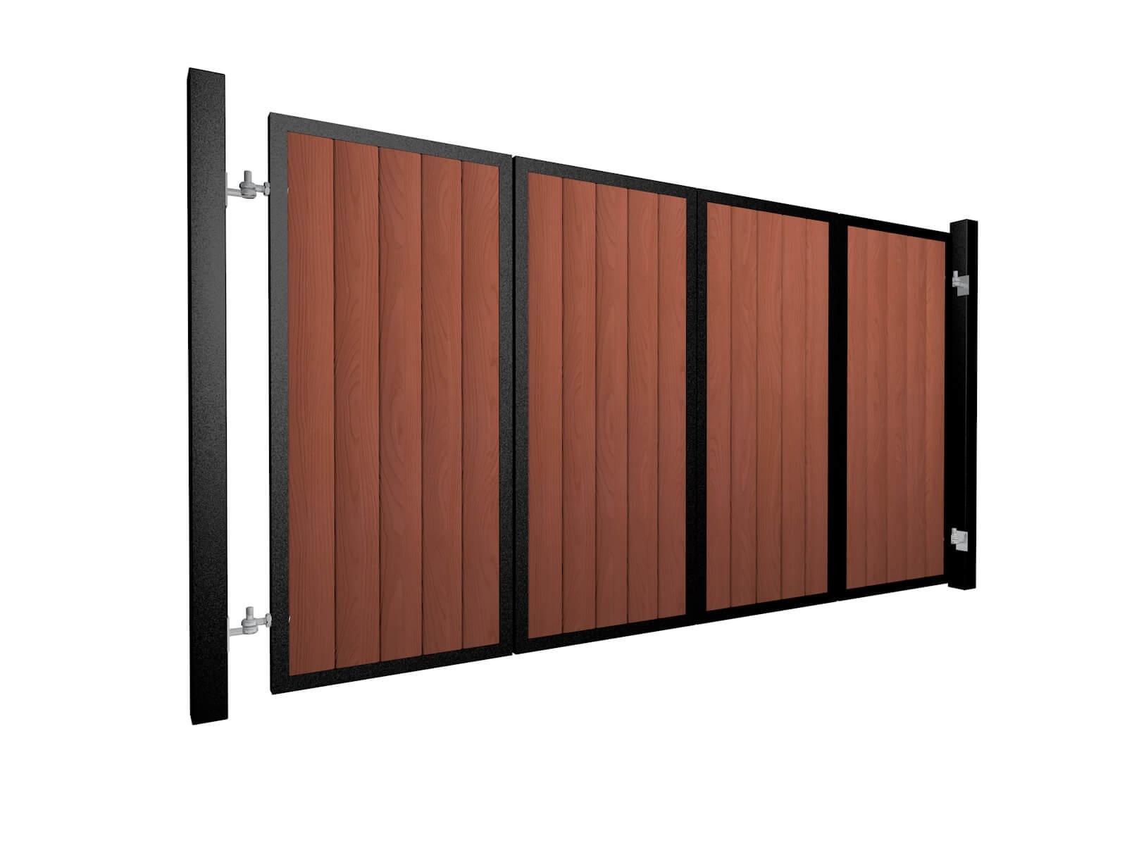 powder coated bi-fold vertical metal frame wood fill automated gates UK