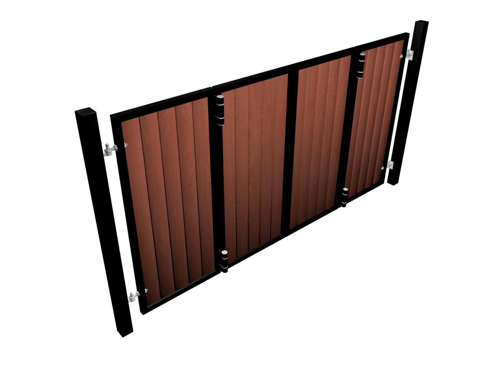powder coated bi-fold vertical metal frame wood fill automated driveway gates