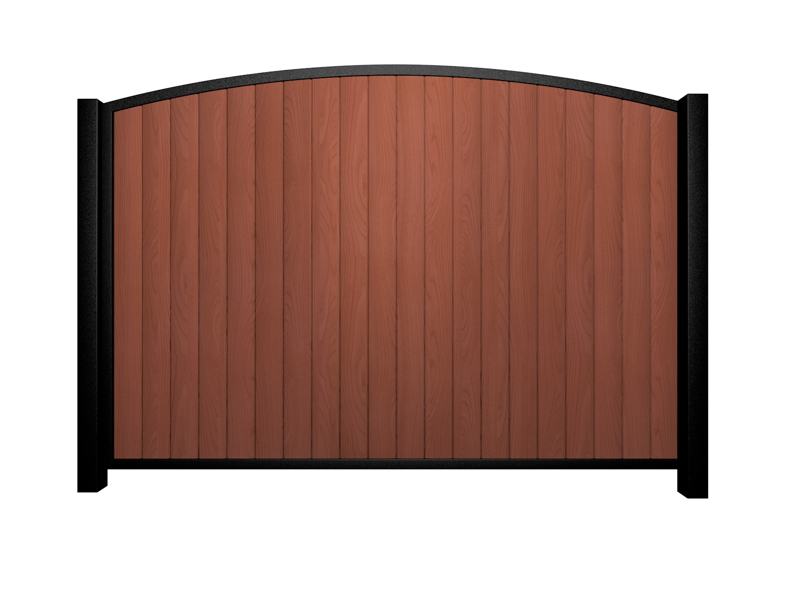 Sliding wood fill metal framed arch top gate