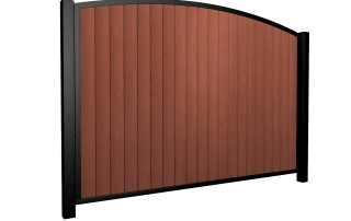 Sliding wood fill metal framed arch top driveway gate
