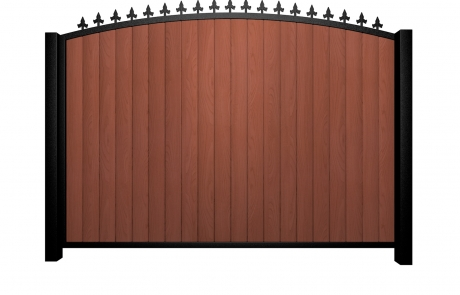 Sliding wood fill metal framed arch top gate with finials