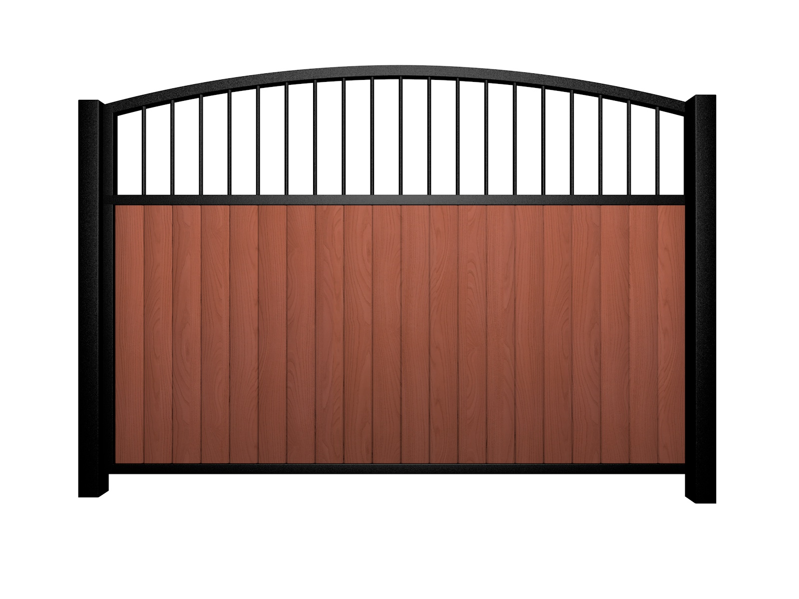 Sliding wood fill metal framed open arch top electric gate bristol