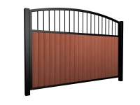 Sliding wood fill metal framed open arch top gate