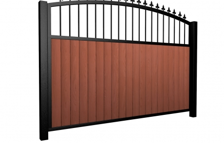 Sliding wood fill metal framed open arch top driveway gate with finials