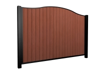 Sliding wood fill metal framed bell top driveway gate