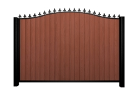 Sliding wood fill metal framed bell top gate with finials