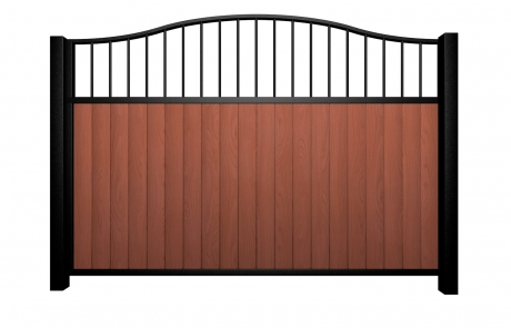Sliding wood fill metal framed open bell top driveway gate bristol