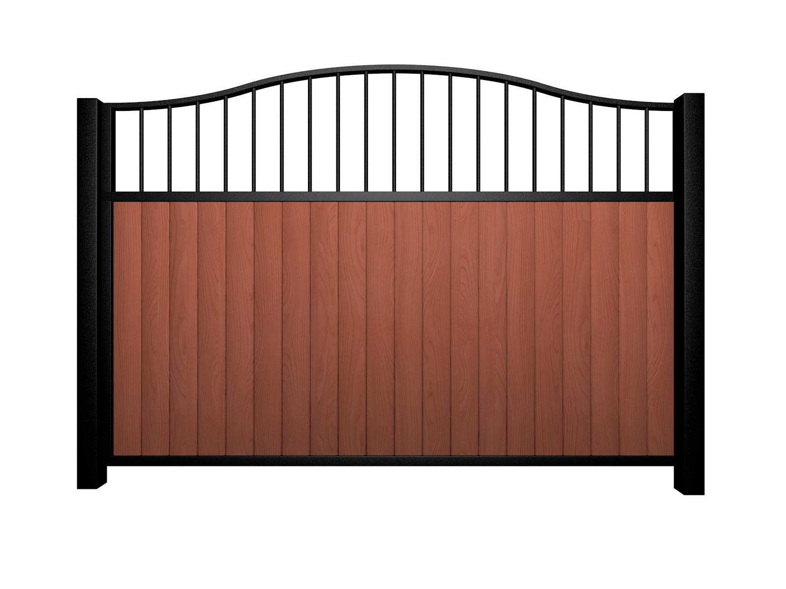 Sliding wood fill metal framed open bell top driveway gate bristol