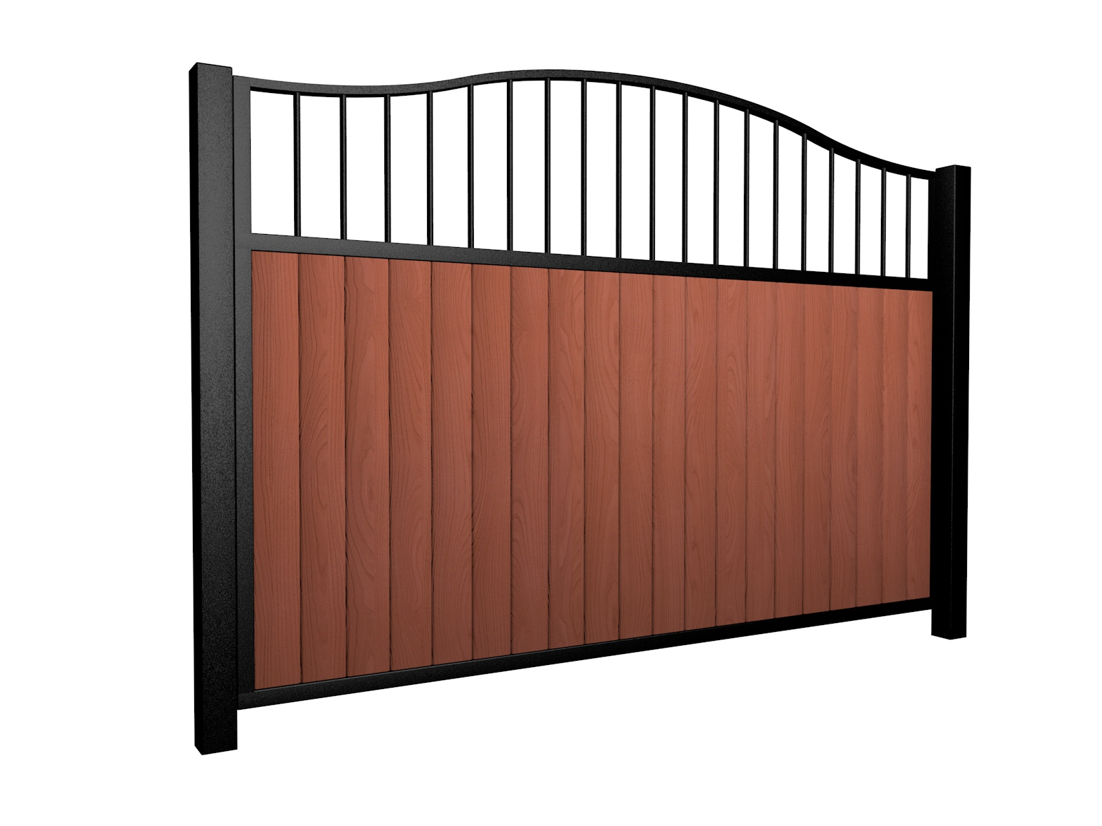 Sliding wood fill metal framed open bell top gate