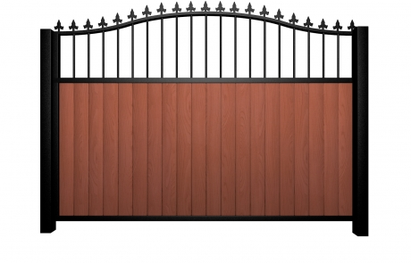 Sliding wood fill metal framed open bell top gate with finials