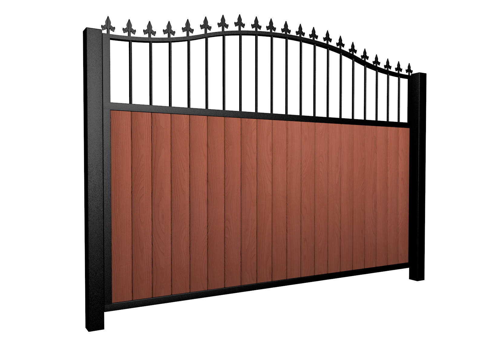 Sliding wood fill metal framed open bell top driveway gate with finials