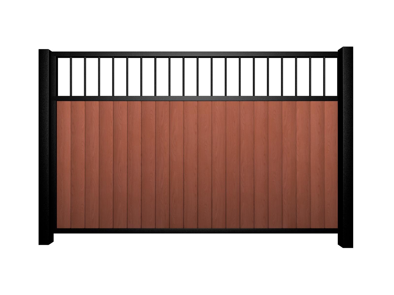 Sliding wood fill metal framed flat open top driveway gate