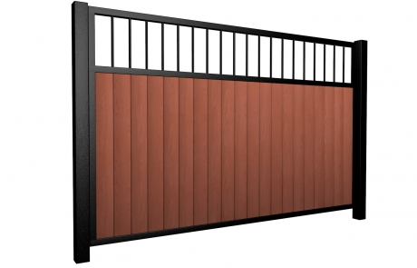 Sliding wood fill metal framed flat open top gate