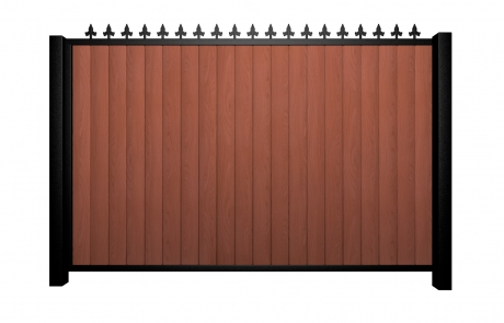 Sliding wood fill metal framed flat top gate with finials