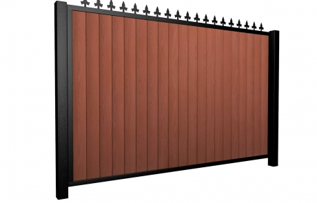 Sliding wood fill metal framed flat top driveway gate with finials