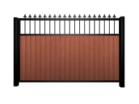 Sliding wood fill metal framed flat open top gate with finials