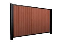Sliding wood fill metal framed flat top driveway gate