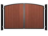 metal framed wood fill arch top automated gate