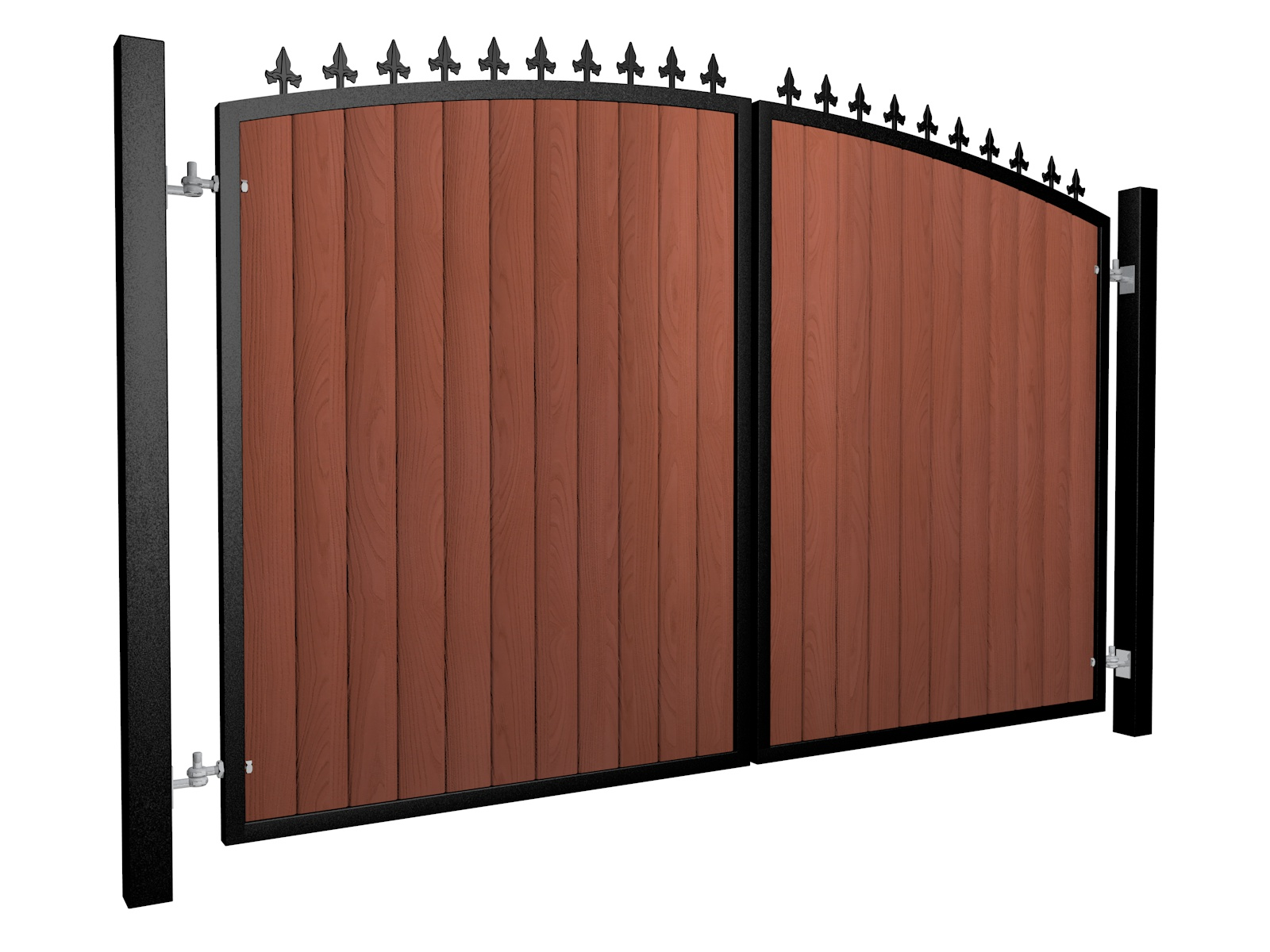 metal framed wood fill arch top automated gate with finials