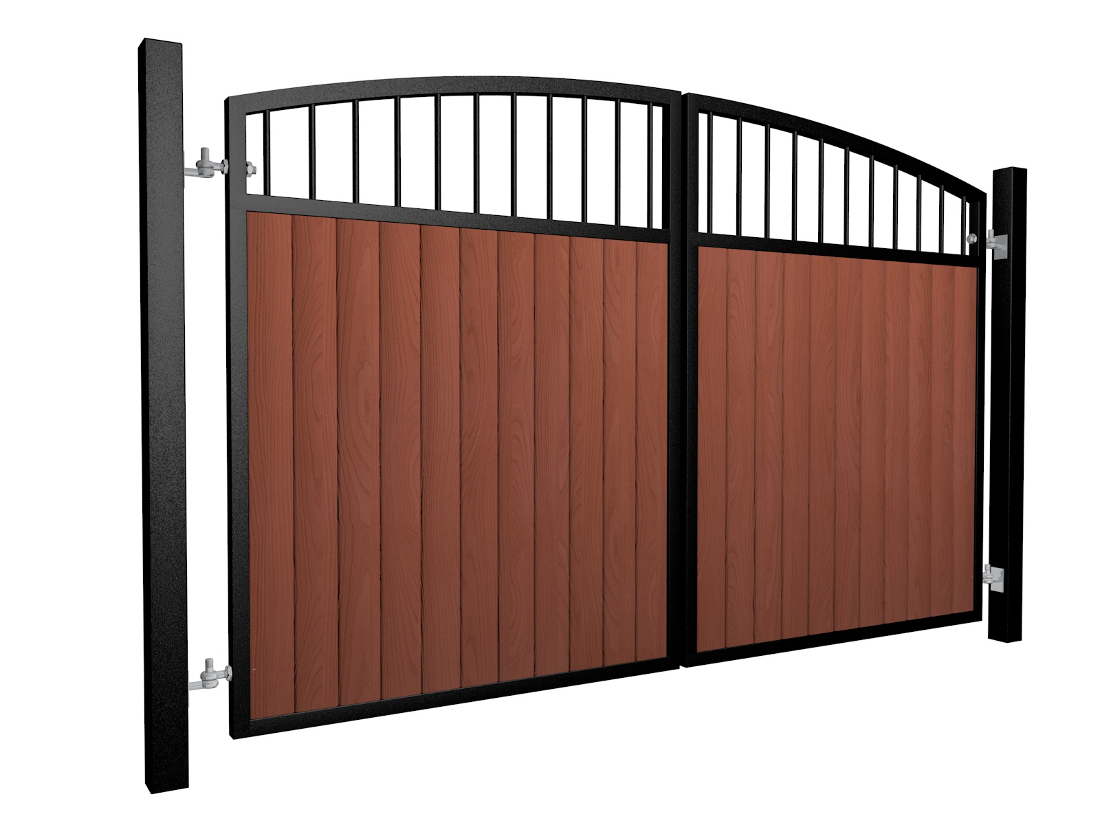 metal framed wood fill open arch top automated gate