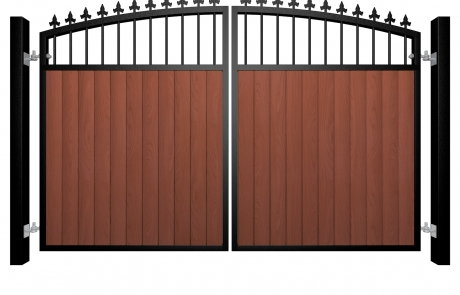 metal framed wood fill open arch top automated gate with finials bristol