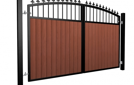 metal framed wood fill open arch top automated driveway gate with finials