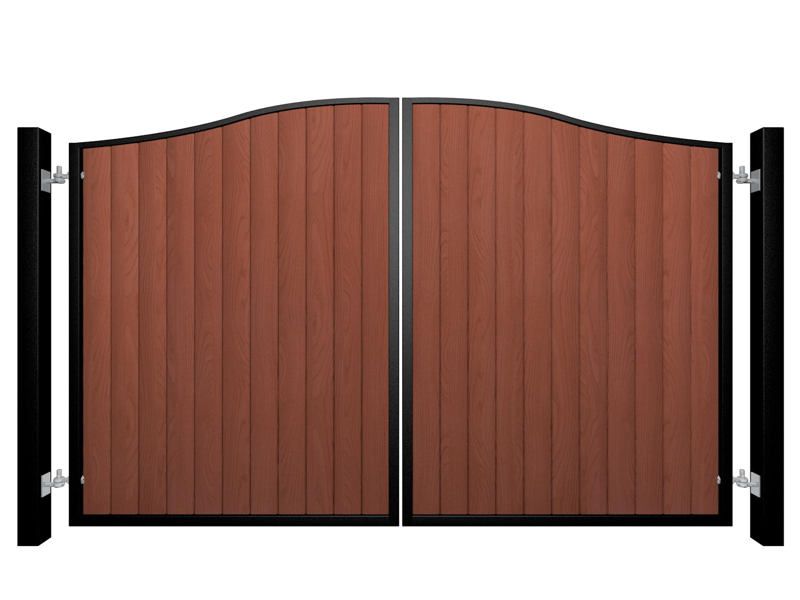 metal framed wood fill bell top automated driveway gate