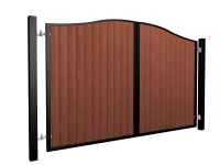 metal framed wood fill bell top automated gate