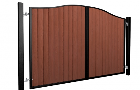 metal framed wood fill bell top automated gate supplier