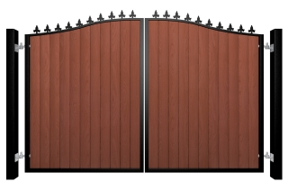 metal framed wood fill bell top automated driveway gate with finials installer