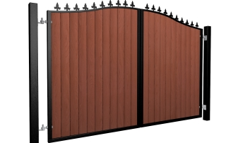 metal framed wood fill bell top automated electric gate with finials UK