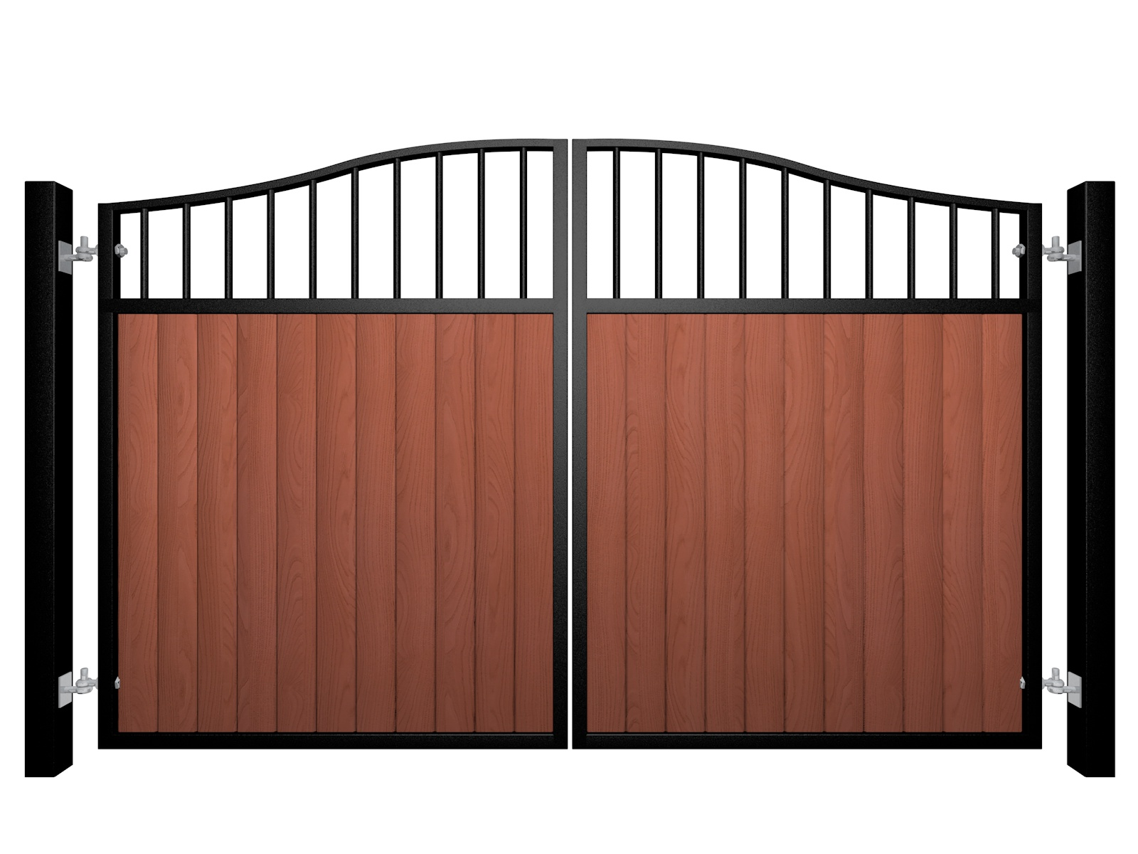 metal framed wood fill open bars bell top automated gate
