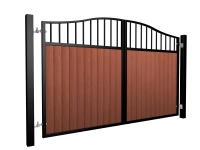 metal framed wood fill open bars bell top automated electric gate