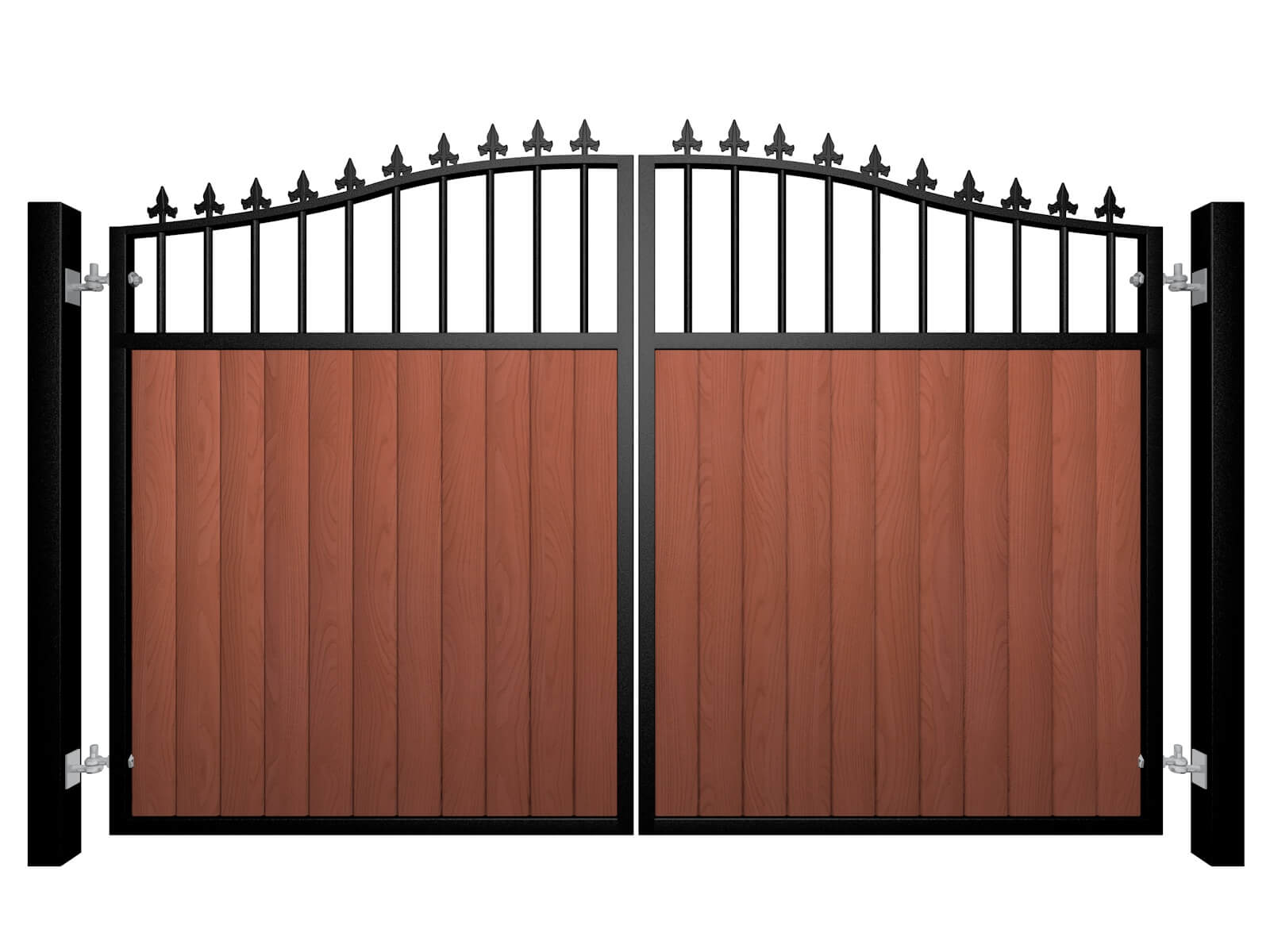 metal framed wood fill open bars bell top automated gate with finials
