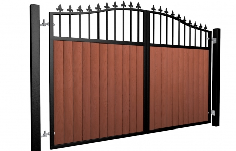 metal framed wood fill open bars bell top automated driveway gate with finials