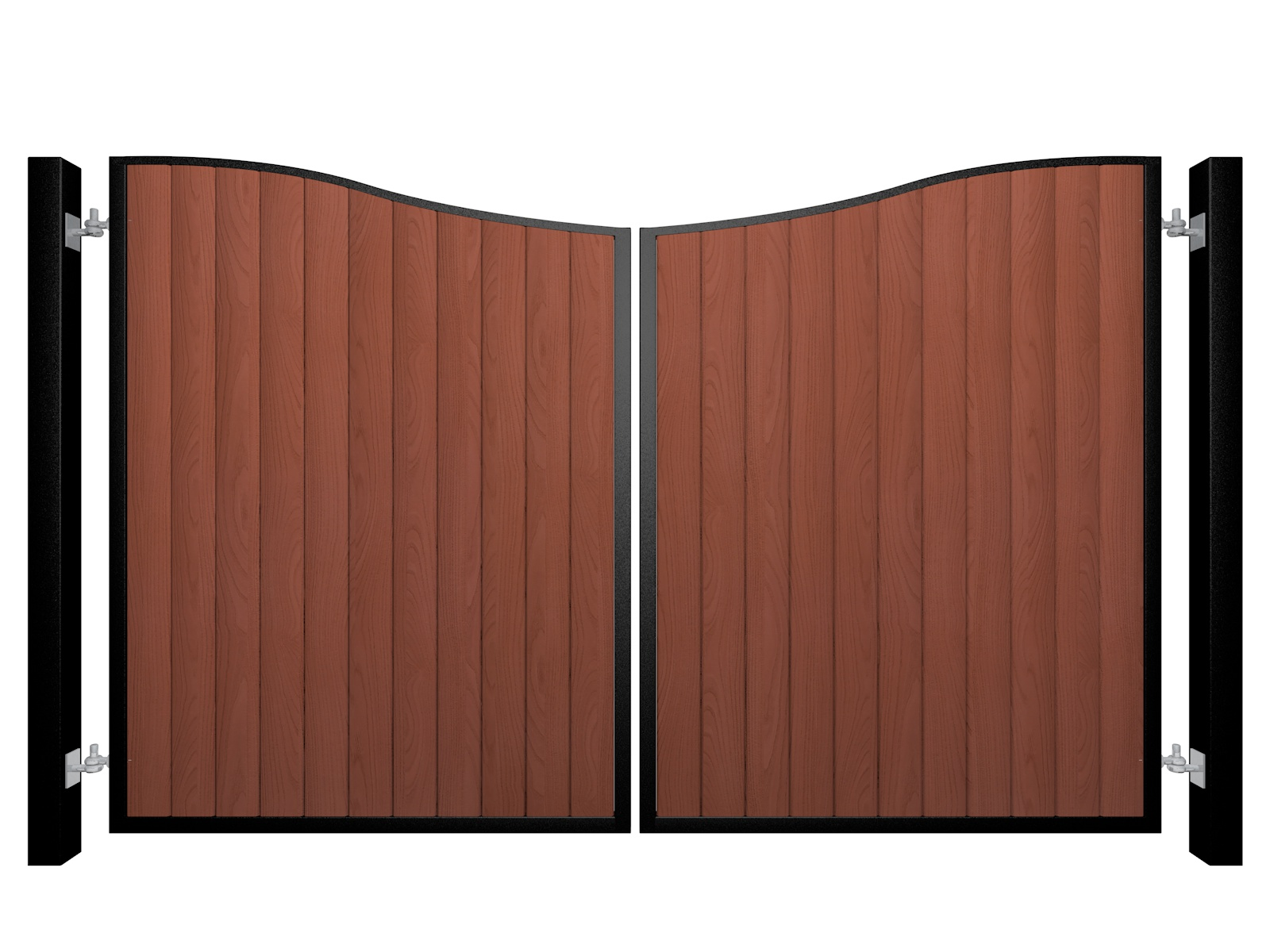 metal framed wood fill bow top automated driveway gate somerset