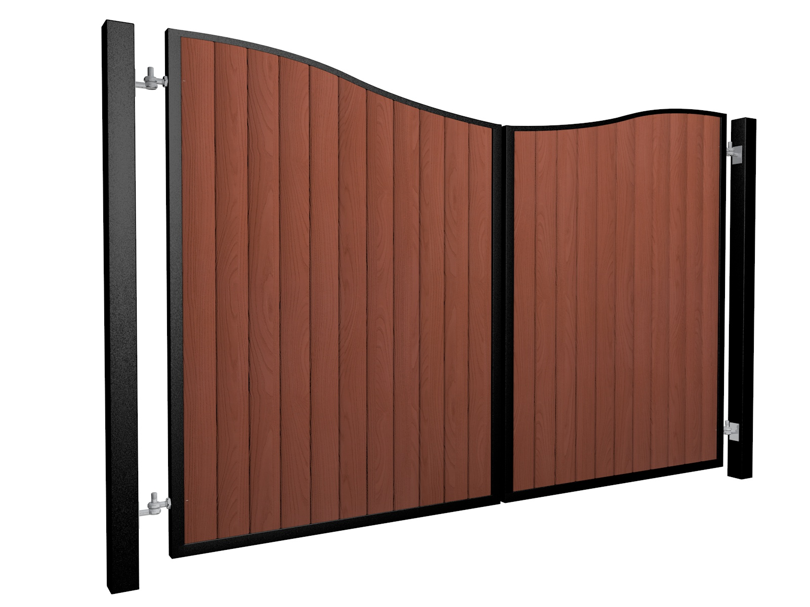 metal framed wood fill bow top automated gate
