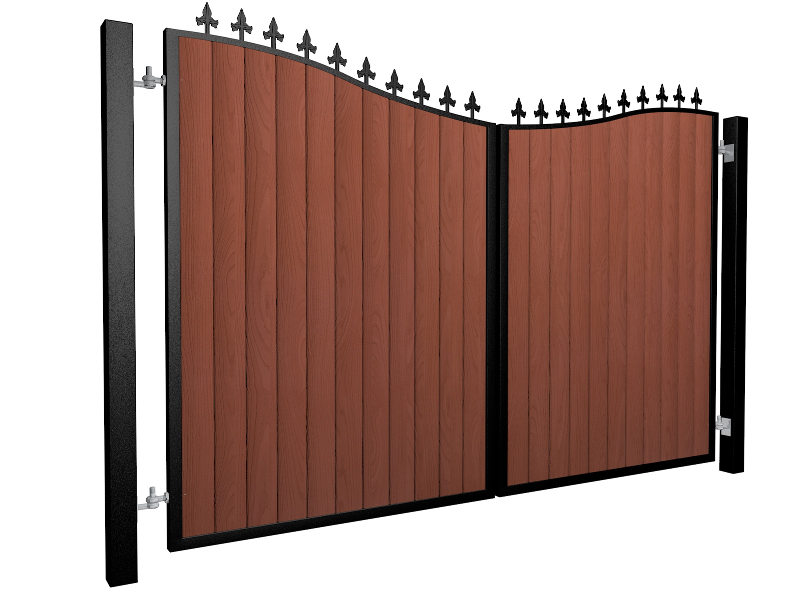 metal framed wood fill bow top automated driveway gate with finials